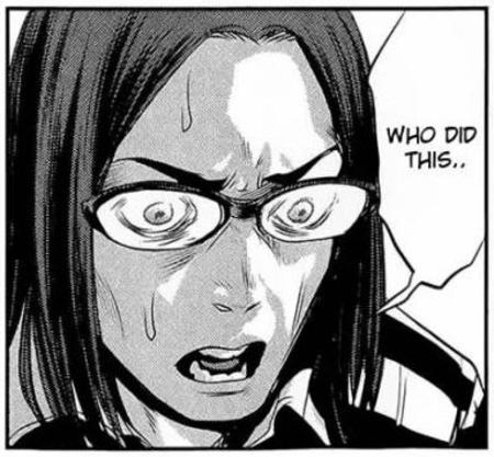 brunette bw comic glasses manga prison_school reaction // 384x356 // 46.0KB