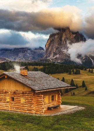 clouds log_cabin mountail photo scenery // 600x840 // 90.1KB