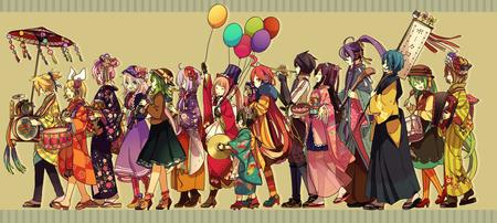 baloons blonde brunette clarinet dress drum green_hair group hat kimono long_hair parade pink_hair purple_hair redhead sandals skirt trumpet umbrella // 2231x1000 // 798.4KB