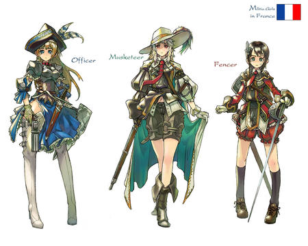 blonde boots brunette cape fencer france gloves group gun hat jacket musketeer officer rifle shorts skirt sword thighhighs white_hair // 1280x1024 // 248.4KB