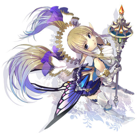 blonde blue_eyes gauntlets gloves greaves long_hair mace scepter skirt thighhighs twintails // 900x879 // 490.7KB