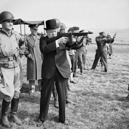 bw gun hat photo suit winston_churchill wwii // 600x600 // 70.7KB