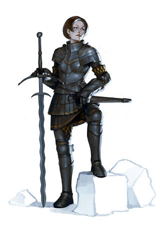 armor blue_eyes brunette crossguard flamberge gauntlets sword // 788x1100 // 302.1KB