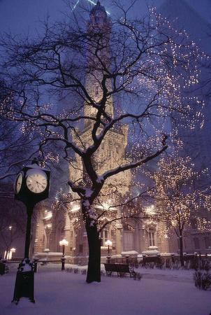 clock photo scenery snow tower tree // 600x893 // 132.4KB