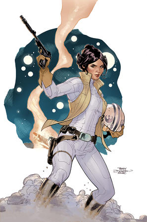 boots brown_eyes brunette gloves gun helmet jumpsuit princess_leia star_wars terry_dodson vest // 875x1325 // 757.4KB