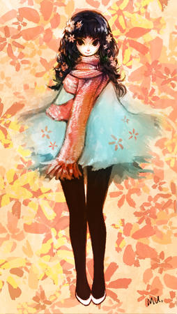 brown_eyes brunette dress flower scarf // 600x1065 // 665.6KB
