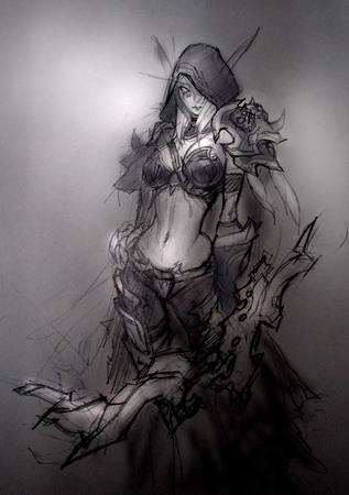 bikini blonde bow bw elf hood pauldrons sketch warcraft // 750x1066 // 197.0KB