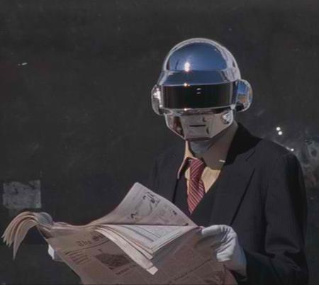 daft_punk helmet necktie newspaper photo reaction robot suit // 500x447 // 17.9KB