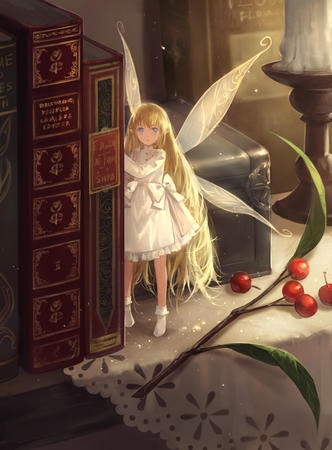 blonde blue_eyes book dress fairy long_hair wings // 884x1200 // 604.3KB