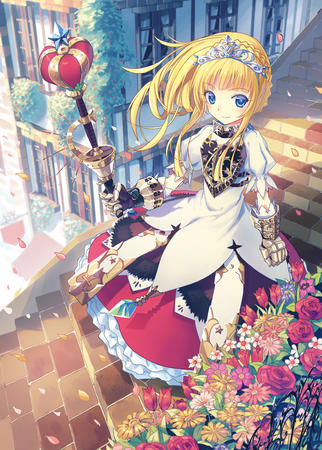 blonde blue_eyes dress flower gauntlets scepter staff tiara // 800x1118 // 1.0MB
