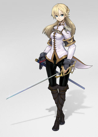 blonde blue_eyes boots gloves jacket rapier sword // 850x1189 // 650.2KB