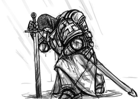 armor backpack bw crossguard knight pauldrons sketch surcoat sword templar // 900x636 // 113.7KB