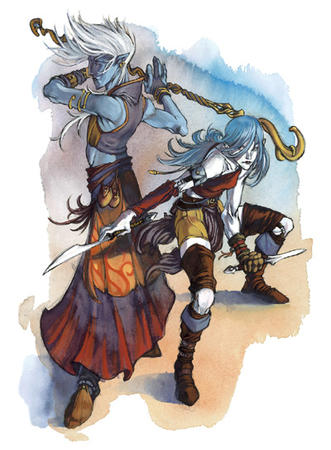 blue_hair blue_skin boods dagger dnd genasi long_hair skirt staff vest // 400x543 // 156.2KB