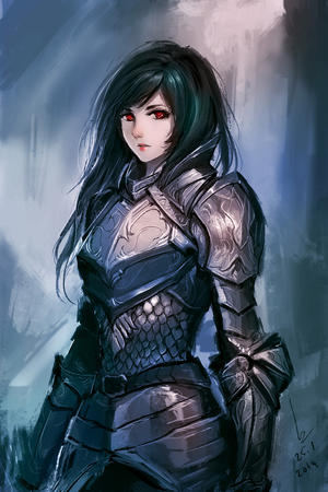 armor brunette red_eyes // 800x1200 // 312.2KB