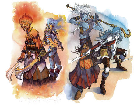 blue_hair blue_skin boots dagger dnd fire flail genasi red_hair skirt staff sword vest white_hair // 706x543 // 107.6KB