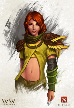 arrow dota green_eyes redhead // 743x1075 // 174.9KB