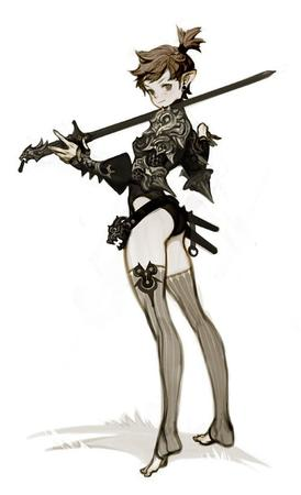 brunette bw crossguard elf sword thighhighs // 500x822 // 36.9KB