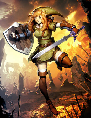 blonde blue_eyes boots dress elf gloves hat link rule_63 shield sword zelda // 766x992 // 393.4KB