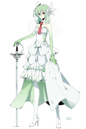 bare_shoulders dress flower gloves green_hair high_heels red_eyes sword // 1000x1500 // 460.0KB