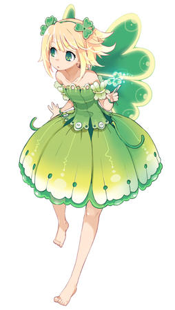 bare_shoulders barefoot blonde dress fairy green_eyes wings // 500x885 // 150.7KB