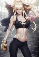 artgerm blonde boxer boxing_gloves jacket long_hair ponytail sports_bra tank_top // 831x1200 // 559.2KB