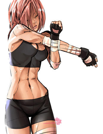 boxer cleavage gloves pink_hair shorts sports_bra tank_top // 600x777 // 87.0KB