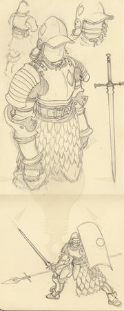 armor crossguard helmet shield sketch spear sword // 500x1249 // 511.6KB