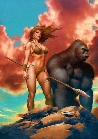 bikini blonde blue_eyes cleavage gorilla spear // 707x1000 // 124.0KB