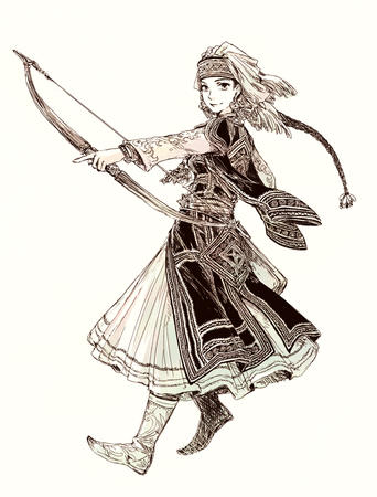 amira arrows boots bow braids brunette bw dress hat long_hair otoyomegatari // 772x1016 // 510.4KB