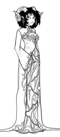 brunette bw cleavage dress horns tiefling // 387x879 // 153.1KB