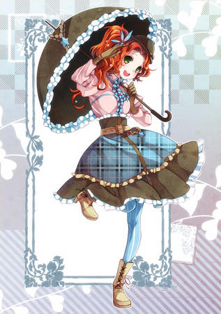 boots dress gloves green_eyes hat redhead umbrella // 700x993 // 240.1KB