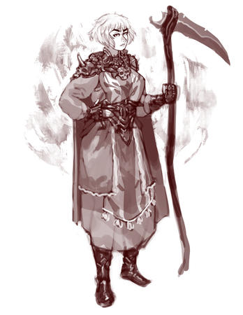 blonde bw cape dress gloves scythe sketch // 773x1000 // 301.4KB