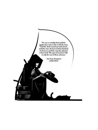 book bw death hat hood quote scythe skeleton terry_pratchett // 900x1200 // 184.7KB