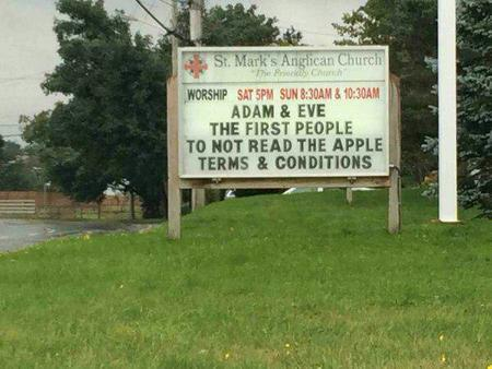 apple church humor photo sign // 600x450 // 47.1KB
