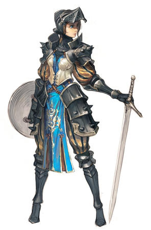 armor blue_eyes crossguard helmet shield sword // 494x750 // 87.6KB
