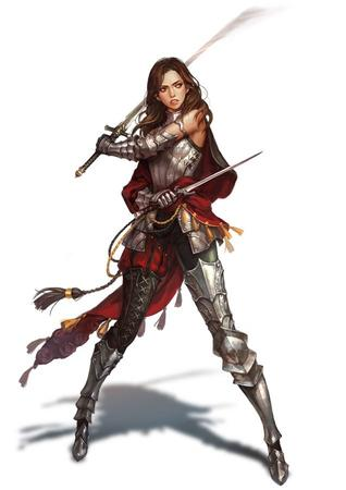 armor bare_shoulders brunette cape crossguard dagger sword // 636x899 // 51.5KB