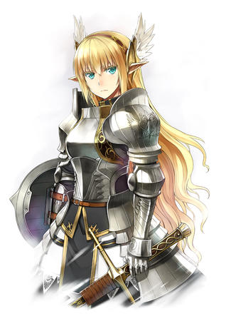 armor blonde blue_eyes elf long_hair shield sword // 848x1200 // 542.1KB