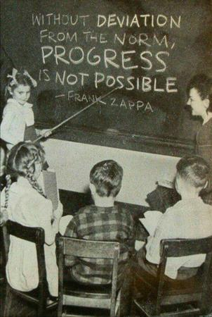 blackboard bw frank_zappa photo progress quote // 600x893 // 102.2KB