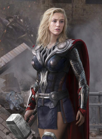 blonde blue_eyes cape hammer marvel mjolnir photo ruins rule_63 short_skirt skrit // 500x678 // 114.8KB
