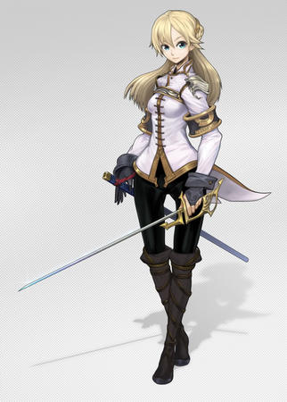 blonde blue_eyes boots gloves sword // 732x1024 // 133.1KB