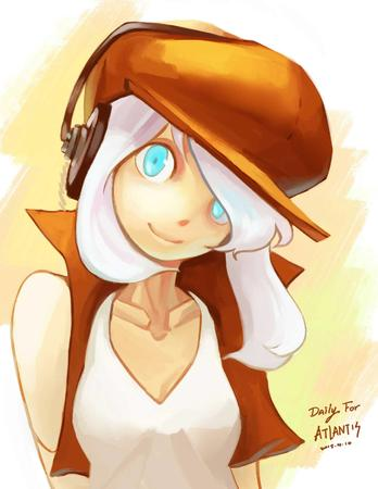blonde blue_eyes hat headphones sketch vest white_hair // 1275x1650 // 124.9KB