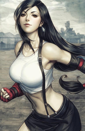 artgerm brown_eyes brunette ffvii final_fantasy gloves long_hair short_skirt skirt suspenders tank_top tifa // 800x1228 // 197.2KB
