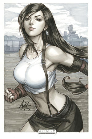 artgerm brunette ffvii final_fantasy gloves long_hair short_skirt skirt tank_top tifa // 796x1200 // 323.0KB