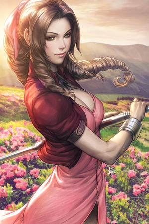aerith artgerm brunette cleavage dress ffvii final_fantasy green_eyes jacket staff // 799x1200 // 534.6KB