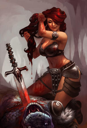 bare_shoulders blood cleavage lizardman redhead sword // 610x900 // 324.7KB