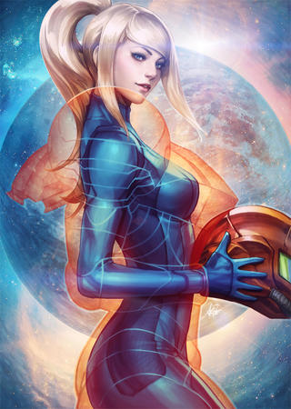 artgerm blonde blue_eyes gloves helmet jumpsuit metroid nintendo ponytail samus_aran // 853x1200 // 1.1MB