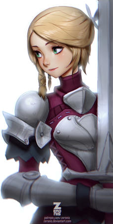 armor blonde green_eyes pauldrons sword zeronis // 431x850 // 249.6KB