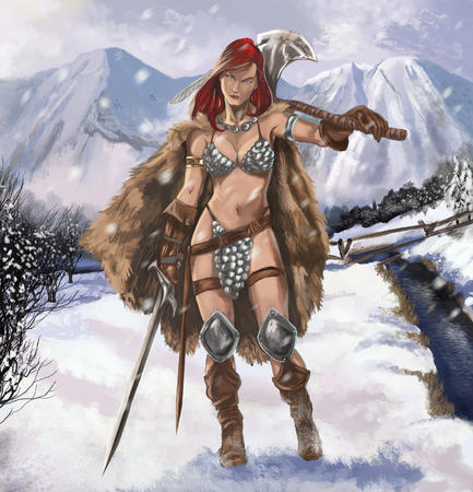 axe bikini blue_eyes boots chainmail_bikini cleavage gauntlets red_sonja redhead snow sword // 1600x1663 // 515.0KB