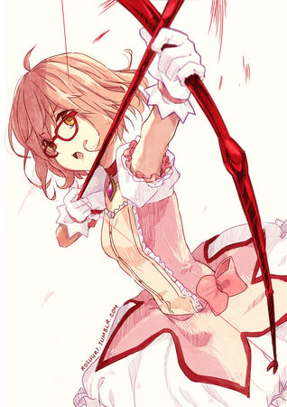 arrow bow dress glasses gloves kyoukai_no_kanata magical_girl mirai pink_hair redhead tagme // 800x1131 // 542.9KB