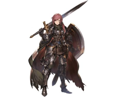 armor cape gauntlets redhead shield sword // 960x800 // 147.8KB